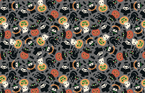 Halloween Friends Gray fabric by heidikenney on Spoonflower - custom fabric