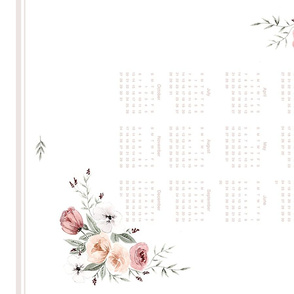 Floral 2019 Calendar Tea Towel