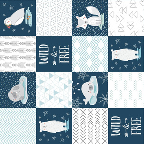 North Pole Wholecloth Cheater Quilt Rotated 90 degrees, Polar Bear, Walrus, Arctic Fox, Seal, Puffin, Wild and Free