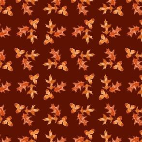 Copper Oak Leaves Acorns Burgundy