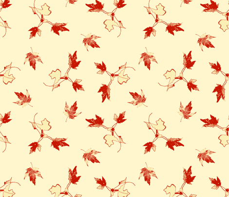Red Cream Maple Leaves fabric by ms__contrary on Spoonflower - custom fabric