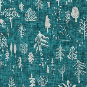 Happy Forest (teal solid) MED