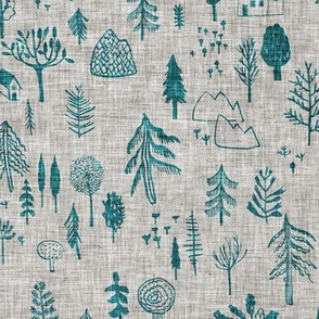 Happy Forest (teal) MED