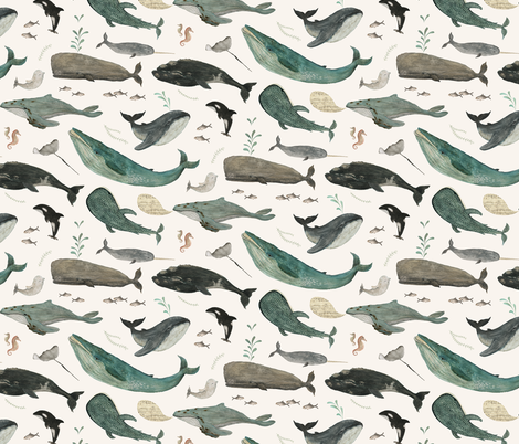 Whale's song {small} fabric by katherine_quinn on Spoonflower - custom fabric