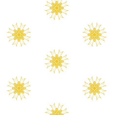 Golden Starshine on White fabric by rhondadesigns on Spoonflower - custom fabric