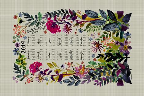 2019 Calendar Tea Towel fabric by sarah_treu on Spoonflower - custom fabric