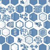 linoprint honeycomb calendar 2020