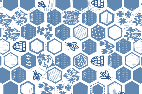linoprint honeycomb calendar fabric by karinka on Spoonflower - custom fabric