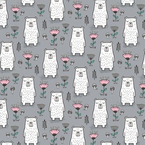 Bear with Flowers Woodland on Grey 50% Smaller