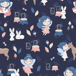 Woodland Fairy - navy blue pink