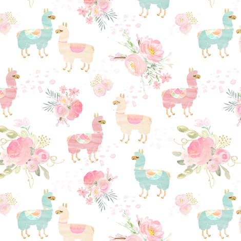 Flora llama bouquet fabric by lub_by_lamb on Spoonflower - custom fabric