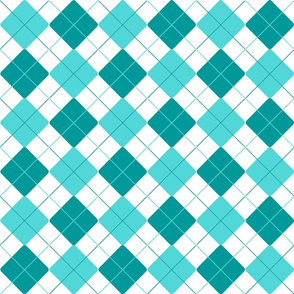 Teal Robin's Egg Blue Alternating Argyle
