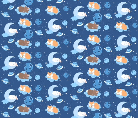 Goodnight baby fabric by nagorerodriguezdesign on Spoonflower - custom fabric