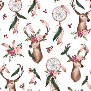 Floral Deer - Dreamcatcher - white