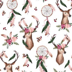 Floral Deer - Dreamcatcher - white
