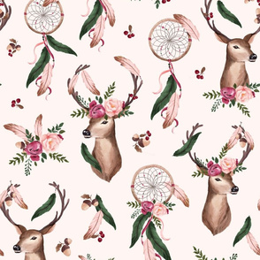 Floral Deer - Dreamcatcher - pink