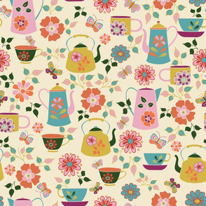 Cream Garden Tea Party Pattern
