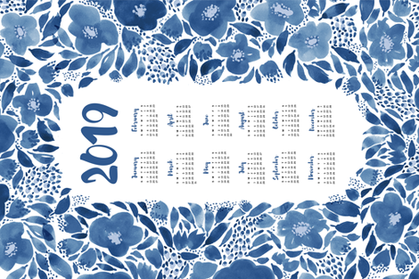 2019 tea towel calendar blue watercolor fabric by laurawrightstudio on Spoonflower - custom fabric