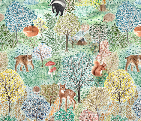 Windermere Woods - highly detailed watercolor forest fabric by rebecca_reck_art on Spoonflower - custom fabric
