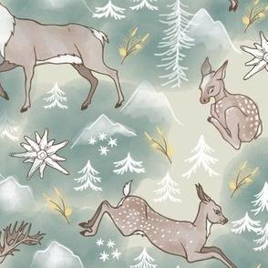 Deers & Edelweiss/Beige