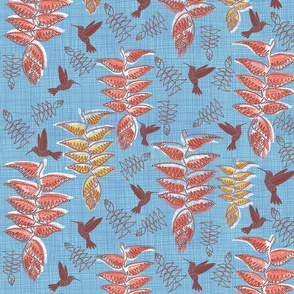 African heliconia paradise linen (pantone little boy blue) large