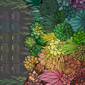 Succulent Rainbow 2021 Tea Towel Calendar