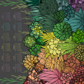 Succulent Rainbow 2019 Tea Towel Calendar