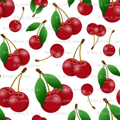 sweet red cherries on white