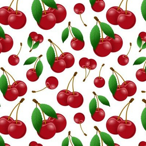 sweet red cherries on white