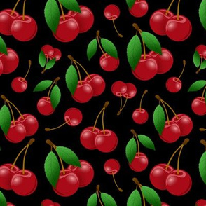 just picked sweet red cherries on black