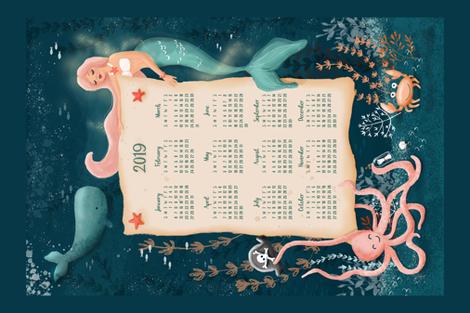 Dreamy mermaid tea towel fabric by whimsical_brush on Spoonflower - custom fabric