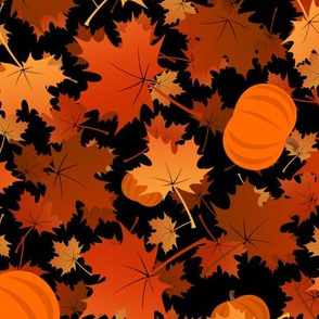 maple leaves and pumpkins on black