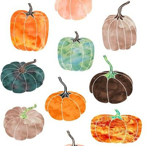 "8"" Watercolor Pumpkins // White"
