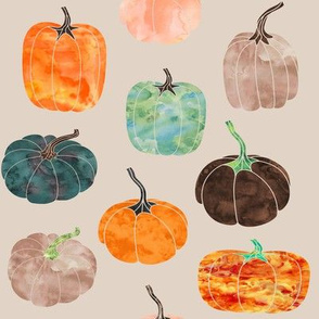 "8"" Watercolor Pumpkins // Pearl Bush"