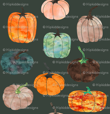 "8"" Watercolor Pumpkins // Lunar Green"