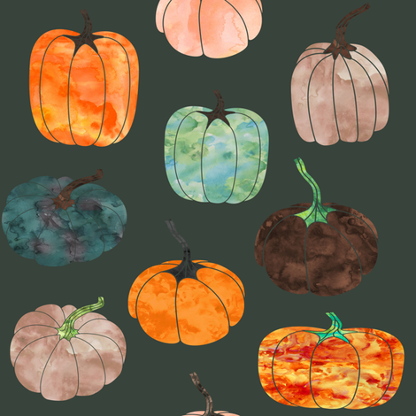 "8"" Watercolor Pumpkins // Lunar Green fabric by hipkiddesigns on Spoonflower - custom fabric"