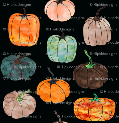 """8"""" Watercolor Pumpkins // Black"""