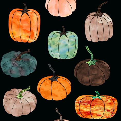 "8"" Watercolor Pumpkins // Black fabric by hipkiddesigns on Spoonflower - custom fabric"