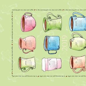 Coffee Cup Calendar Tea Towel