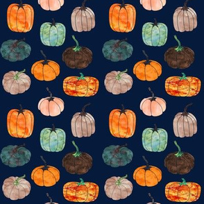 "4"" Watercolor Pumpkins // Navy"
