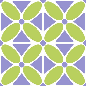 Oval Petals and Triangles Purple and Bright Celery