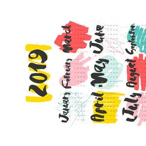 Colorful 2019 tea towel calendar