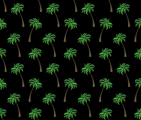 Coconut Palms on Black fabric by artsytoocreations on Spoonflower - custom fabric