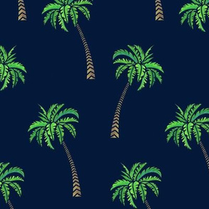 Coconut Palms on Navy