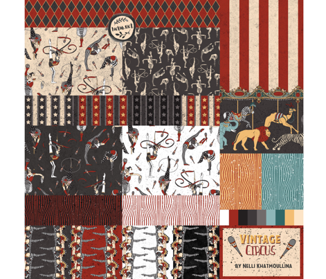 Circus Animals Carousel Boarder Print