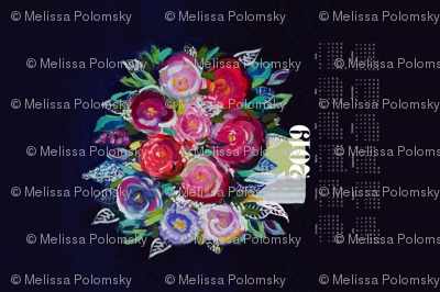 2019 Tea Towel Calendar - Painted Bouquet