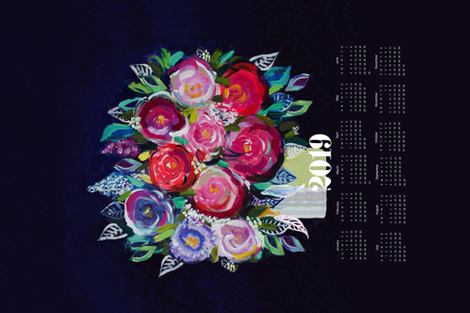 2019 Tea Towel Calendar - Painted Bouquet fabric by theartwerks on Spoonflower - custom fabric