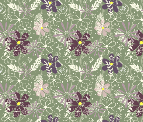 feathers & flowers eggplant plum sage fabric by katz_d_zynes on Spoonflower - custom fabric