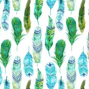 Teal and Green Watercolor Feathers