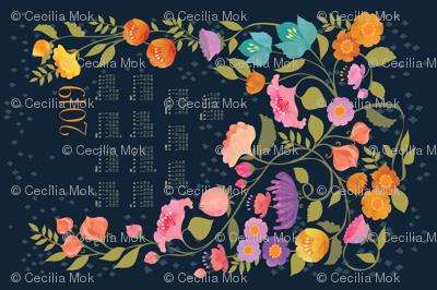 Enchanted Garden 2019 Calendar Tea Towel